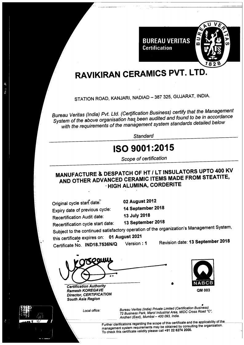 Certificate Ravikiran Ceramics Pvt Ltd